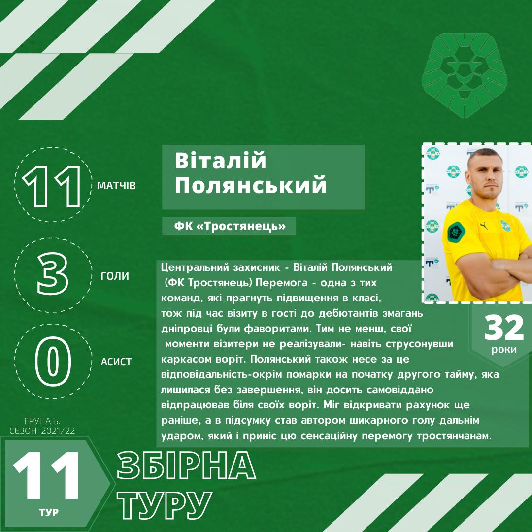 Віталій Полянський – Збірна 11-го туру Другої ліги України